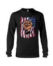 American Flag pomeranians Long Sleeve Tee thumbnail
