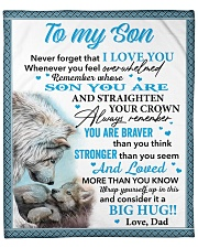 """Wolf Never 4get That I Love You Dad To Son Fleece Blanket - 50"""" x 60"""" front"""
