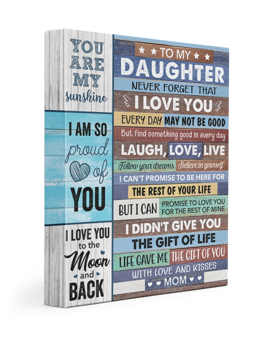 Never Forget That I Love U Mom To Daughter 11x14 Gallery Wrapped Canvas Prints