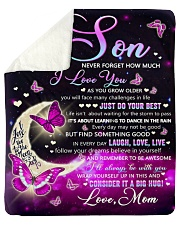 """Never Forget How Much I LoveU Butterfly Mom To Son Sherpa Fleece Blanket - 50"""" x 60"""" thumbnail"""