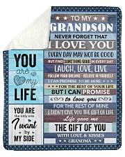 "Never Forget That I Love U To Grandson Sherpa Fleece Blanket - 50"" x 60"" thumbnail"