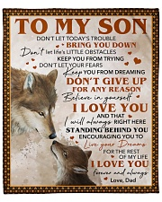 "Don't Let Today's Trouble Wolf Dad To Son Fleece Blanket - 50"" x 60"" front"