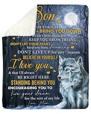 "Don't Let Today's Trouble Wolf Mom To Son Sherpa Fleece Blanket - 50"" x 60"" thumbnail"