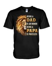 Lion Being A Dad Is An Honor A Papa Is Priceless V-Neck T-Shirt thumbnail