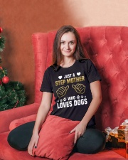 Just A Step Mother Who Loves Dogs Ladies T-Shirt lifestyle-holiday-womenscrewneck-front-2
