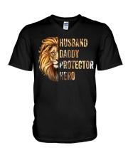 Husband Lion Daddy Protector Hero V-Neck T-Shirt thumbnail