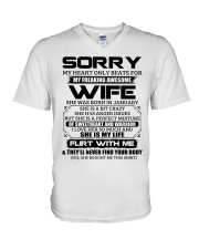 My Heart Only Beats For Wife Was Born In January V-Neck T-Shirt thumbnail