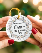 Our First Chirtmas Engaged Circle ornament - single (porcelain) aos-circle-ornament-single-porcelain-lifestyles-08