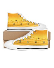 HoneyComb Bee Shoes Women's High Top White Shoes thumbnail