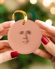 Funny Santa Circle ornament - single (porcelain) aos-circle-ornament-single-porcelain-lifestyles-08