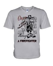 Always a firefighter V-Neck T-Shirt thumbnail