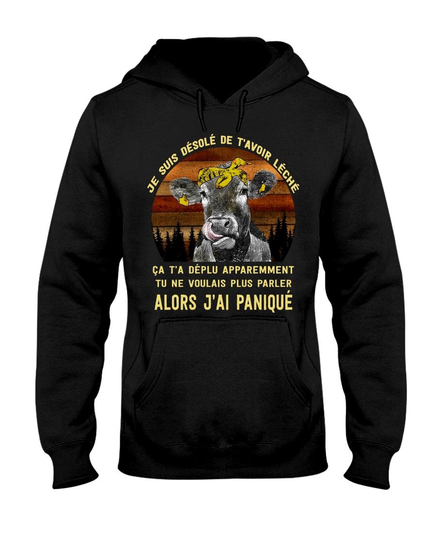cow mug - I'm sorry I licked you french vs Hooded Sweatshirt