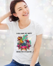 T- rex make me happy Premium Fit Ladies Tee lifestyle-holiday-womenscrewneck-front-1