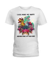 T- rex make me happy Ladies T-Shirt thumbnail
