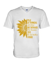 sunflower T-shirt - to girl with tatoos V-Neck T-Shirt thumbnail