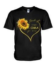 sunflower T-shirt - being a Nana german vs V-Neck T-Shirt thumbnail