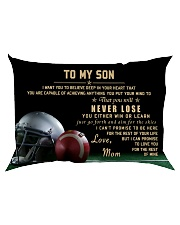 American football pillow -  Mom to son - Never los Rectangular Pillowcase back