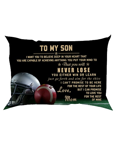 American football pillow -  Mom to son - Never los