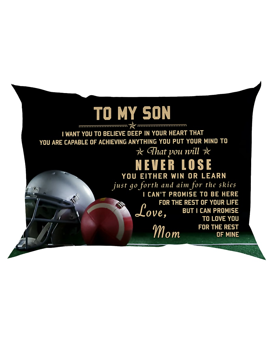 American football pillow -  Mom to son - Never los Rectangular Pillowcase