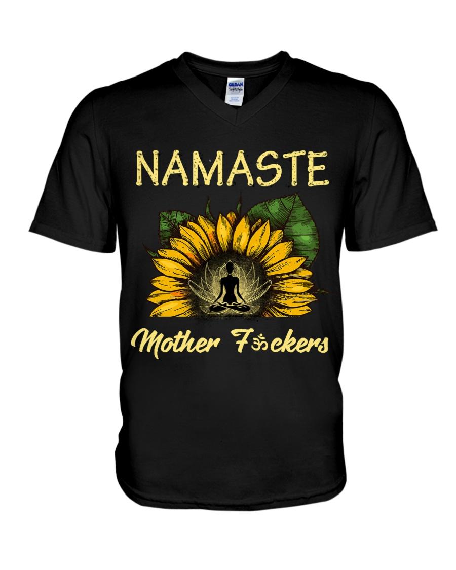 sunflower T-shirt - yoga Namaste V-Neck T-Shirt