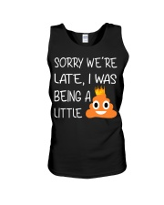sorry we're late-thequeen Unisex Tank thumbnail