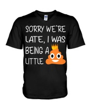 sorry we're late-thequeen V-Neck T-Shirt thumbnail