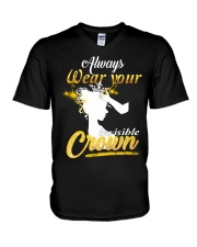 always wear your invisible crown V-Neck T-Shirt thumbnail