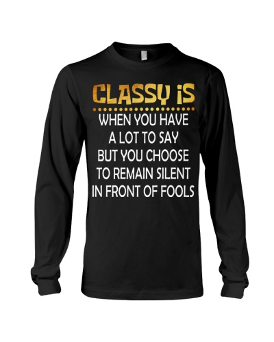 Classy is when you have a lot to say