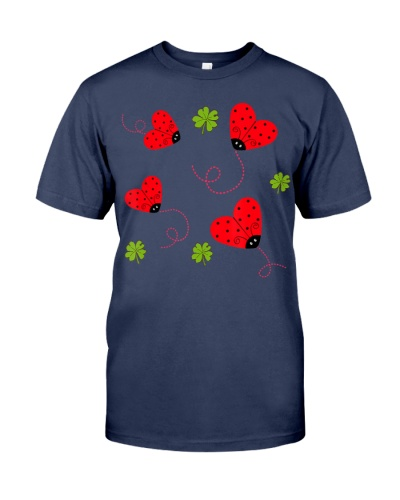 Womens Ladybug Heart Graphic T-Shirt