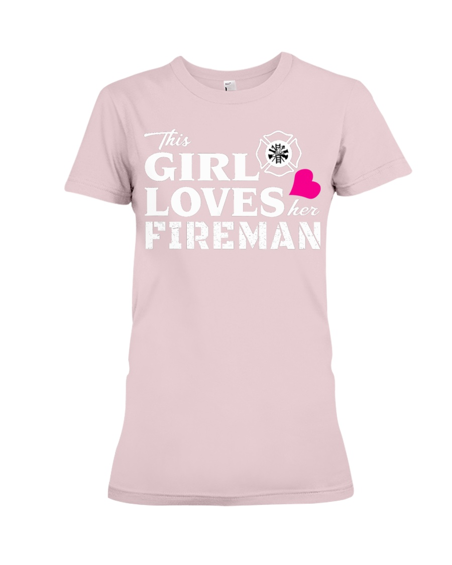 This Girl Loves Her Fireman - Firefighte Premium Fit Ladies Tee