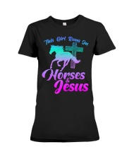 THIS GIRL RUNS ON HORSES  JESUS Love R Premium Fit Ladies Tee thumbnail
