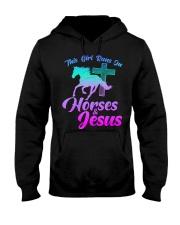 THIS GIRL RUNS ON HORSES  JESUS Love R Hooded Sweatshirt thumbnail