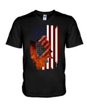 Poodle USA Flag 4th Of July Veterans Dog V-Neck T-Shirt thumbnail