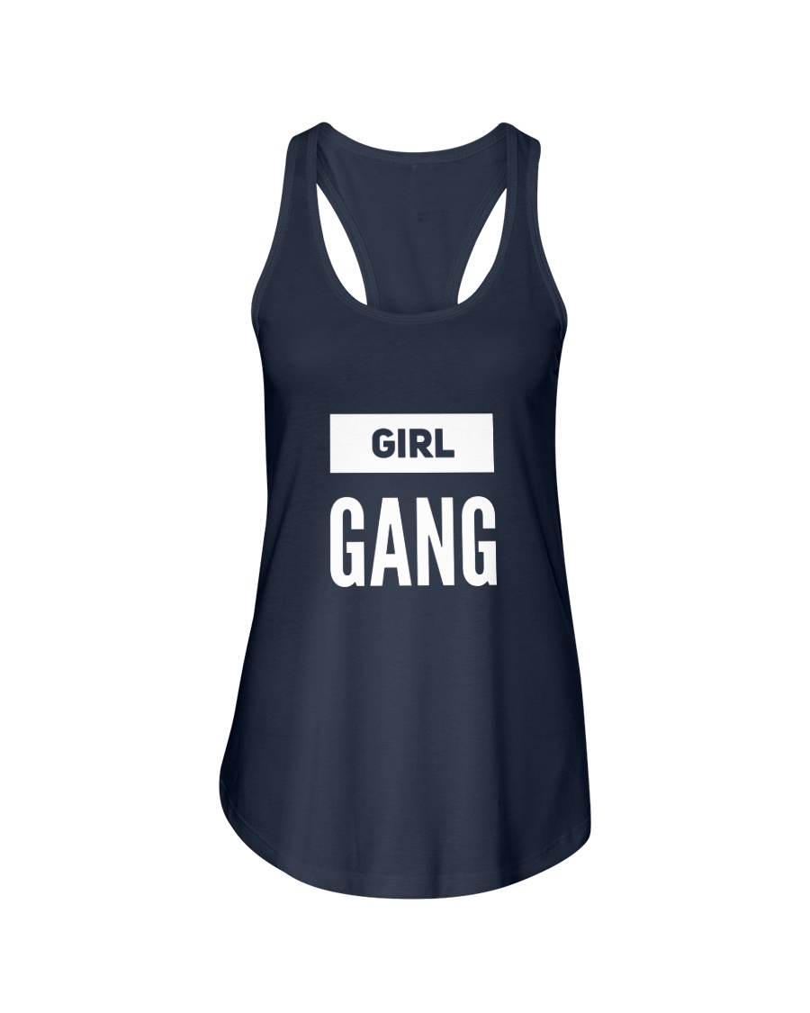 Girl Gang Lifestyle White Navy Ladies Flowy Tank