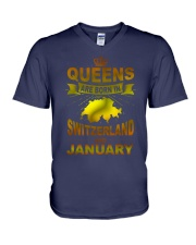 SWITZERLAND-GOLD-QUEES-JANUARY V-Neck T-Shirt thumbnail