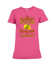 ROMANIA-GOLD-QUEES-JANUARY Premium Fit Ladies Tee thumbnail