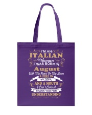 ITALIAN-CONT-August Tote Bag thumbnail