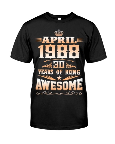 April 1988 30 Years Birthday Gift