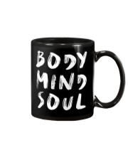 Yoga Body Mind Soul Black Mug Mug front