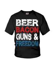 Beer Bacon Guns And Freedom Tank Top Youth T-Shirt front