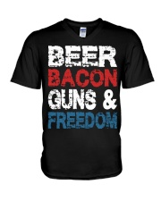 Beer Bacon Guns And Freedom Tank Top V-Neck T-Shirt tile