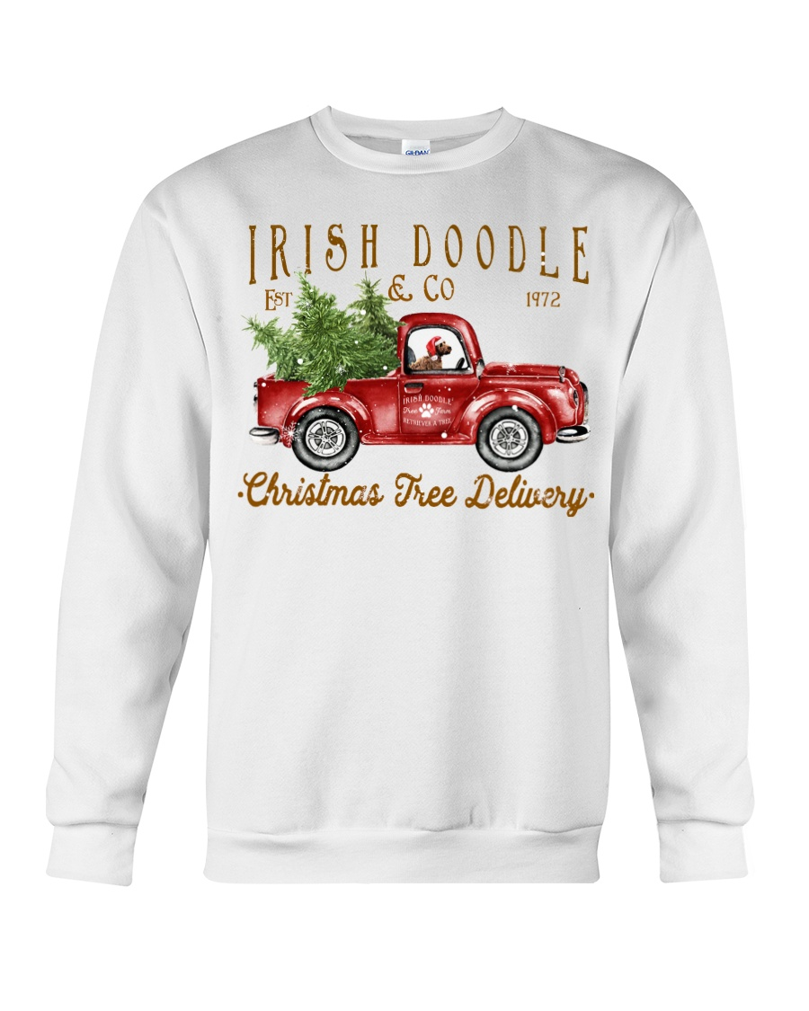 Irish Doodle Puppy On Red Christmas Truck
