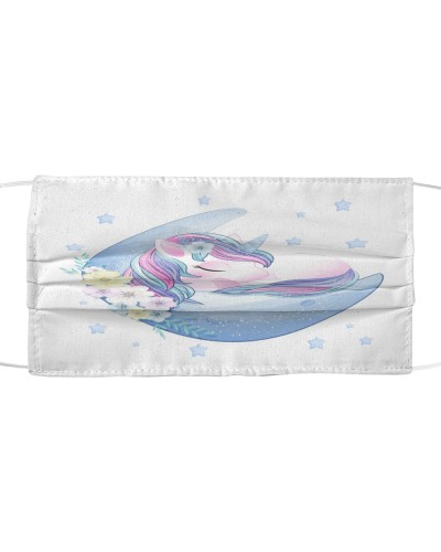 hand drawn cute unicorn sleeping moon