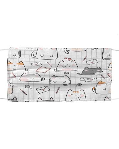 cute cat kitten cartoon doodle face mask 1