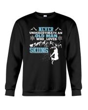 NEVER UNDERESTIMATE AN OLD MAN WHO LOVES SKIING T- Crewneck Sweatshirt thumbnail