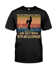 NEVER UNDERESTIMATE AN OLD MAN WITH AN SAXOPHONE Premium Fit Mens Tee tile
