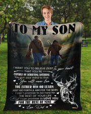 """I Want You To Believe In Your Heart Hunting To Son Fleece Blanket - 50"""" x 60"""" aos-coral-fleece-blanket-50x60-lifestyle-front-01a"""