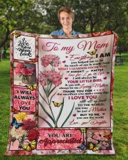 """Everything I Am You Helped Me To Be To Mom Fleece Blanket - 50"""" x 60"""" aos-coral-fleece-blanket-50x60-lifestyle-front-01a"""