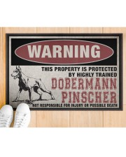 """Dobermann this property is protected Doormat 22.5"""" x 15""""  aos-doormat-22-5x15-lifestyle-front-03"""