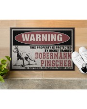 """Dobermann this property is protected Doormat 22.5"""" x 15""""  aos-doormat-22-5x15-lifestyle-front-12"""